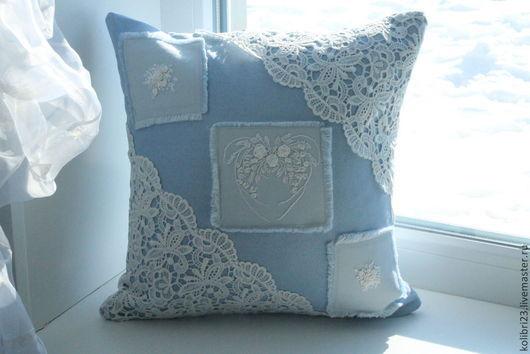 подушка, подушка купить, подушка вышитая, вышитая подушка, подушка с вышивкой, подушка с кружевом, деним, джинсовый стиль, романтичный стиль