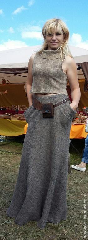 """Юбки ручной работы. Ярмарка Мастеров - ручная работа. Купить """"Родом из природы"""". Handmade. Темно-серый, валяная юбка"""