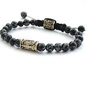 Украшения handmade. Livemaster - original item Bracelet bead with a Raven made of natural stone obsidian. Handmade.