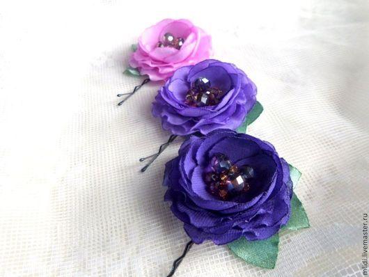 фиолетовые, лиловые,фиалковые, сиреневые, розы, цветы, маленькие, заколки, невидимки, яркие, темные, волосы, украшение, невеста, выпускной, подарок, девочка, девушка, сиреневый букет, фиолетовый букет