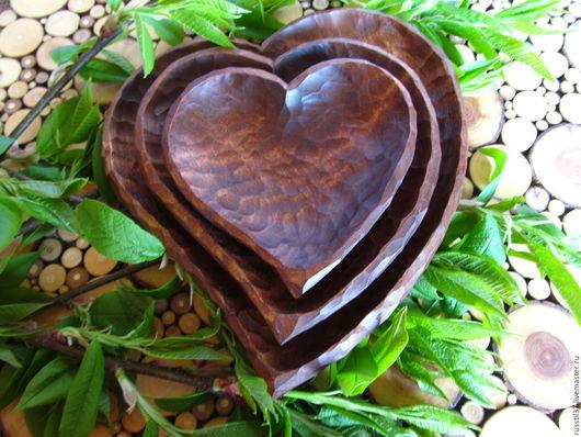 Кухня ручной работы. Ярмарка Мастеров - ручная работа. Купить Тарелки рубленные( сердечки). Handmade. Комбинированный, посуда из дерева, кухня