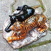 Для дома и интерьера handmade. Livemaster - original item Statuette of the Panther and Tiger. Handmade.