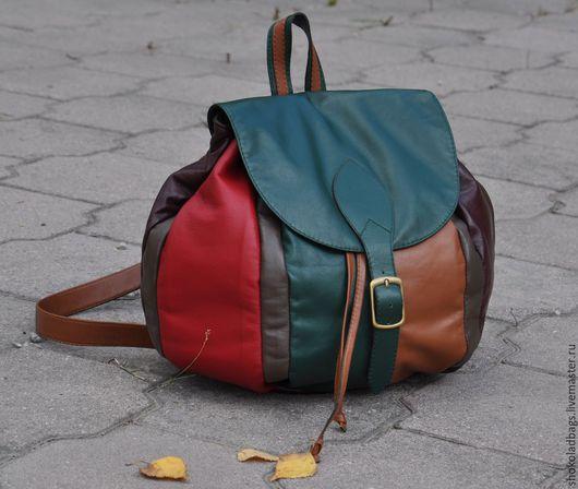 Рюкзаки ручной работы. Ярмарка Мастеров - ручная работа. Купить Кожаный рюкзак - ' Девочка - Осень'. Handmade. Разноцветный, овчина