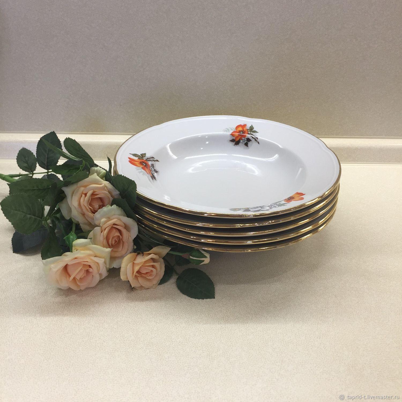 Винтажная посуда. Ярмарка Мастеров - ручная работа. Купить Винтаж: Тарелка суповая фарфоровая КФЗ Чайка 80-е года. Handmade.