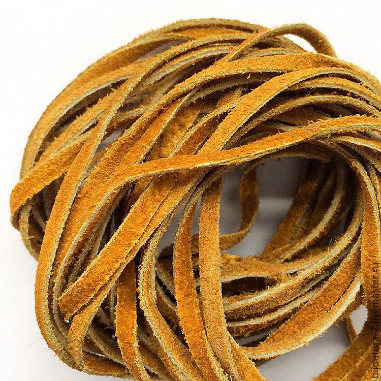 Для украшений ручной работы. Ярмарка Мастеров - ручная работа. Купить Шнур 3 мм, (арт.нз7) натуральная замша, цвет рыжий. Handmade.