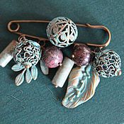 Украшения handmade. Livemaster - original item Brooch pin berries brooch for scarf turquoise patina turquoise forest. Handmade.