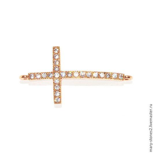 Для украшений ручной работы. Ярмарка Мастеров - ручная работа. Купить Коннектор крест с фианитами, красное золото (Milano). Handmade.