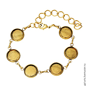 Браслет с сеттингами 12 мм, цвет античное золото
