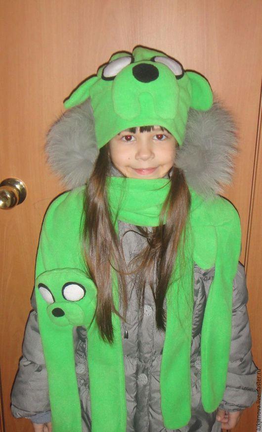 Для подростков, ручной работы. Ярмарка Мастеров - ручная работа. Купить Комплект флисовая шапочка и шарф Джейк. Handmade. Зеленый