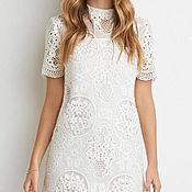SALE! -50% Платье трапеция белое кружевное