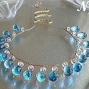 Украшения handmade. Livemaster - original item 14K Gold Necklace Wire Wrapped Swiss Blue Topaz. Handmade.
