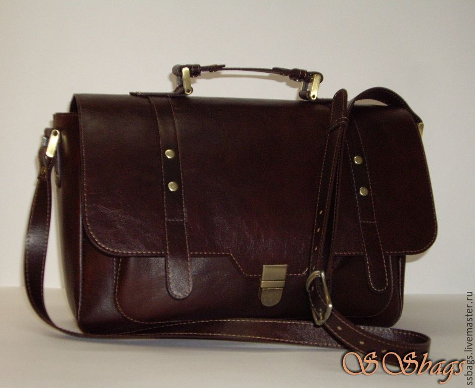 Large satchel made of genuine leather, Brief case, St. Petersburg,  Фото №1