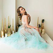 Одежда ручной работы. Ярмарка Мастеров - ручная работа Будуарное платье (пенюар) Blue Sky. Handmade.