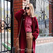 Одежда ручной работы. Ярмарка Мастеров - ручная работа Пальто вязаное бордовый. Handmade.