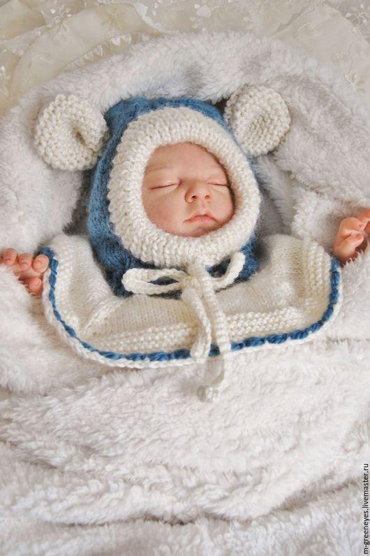 """Для новорожденных, ручной работы. Ярмарка Мастеров - ручная работа. Купить Шапка-шлем для малыша """"Мышонок малыш"""". Handmade. Голубой"""