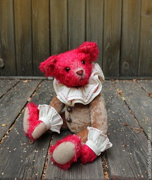 Мишки Тедди ручной работы. Ярмарка Мастеров - ручная работа. Купить Авторский мишка Себастьян. Handmade. Ярко-красный