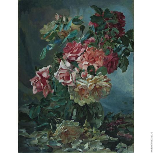 Картины цветов ручной работы. Ярмарка Мастеров - ручная работа. Купить Натюрморт с розами, копия картины Albert Tibule Furcy de Lavault. Handmade.