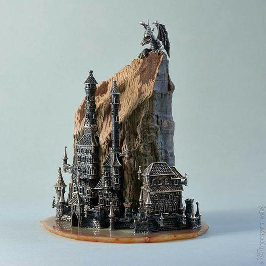 Персональные подарки ручной работы. Ярмарка Мастеров - ручная работа. Купить Серебро, окаменевшее дерево, оникс Город с драконом. Handmade.