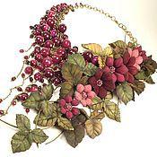 Украшения handmade. Livemaster - original item Pomegranate Parfait. Necklace made of natural stone with leather flowe. Handmade.