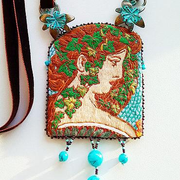 Decorations handmade. Livemaster - original item Ivy pendant based on the works of Alphonse Mucha author`s handwork. Handmade.