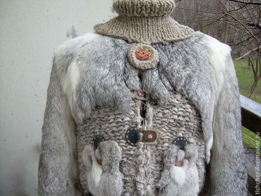 """Пиджаки, жакеты ручной работы. Ярмарка Мастеров - ручная работа. Купить Жакет  с мехом """" Теплый ретровинтаж"""". Handmade. Серый"""