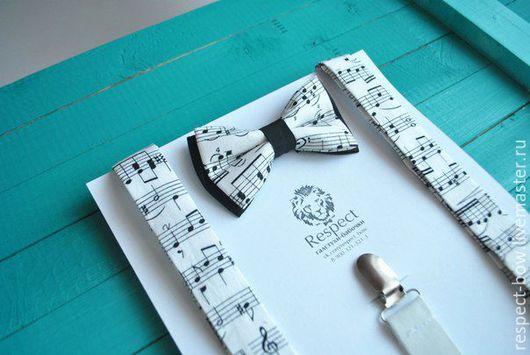 Комплекты аксессуаров ручной работы. Ярмарка Мастеров - ручная работа. Купить Бабочка и подтяжки Музыкант / галстук-бабочка с нотами, помочи. Handmade.