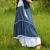 Одежда ручной работы. Ярмарка Мастеров - ручная работа Юбка в пол джинсовая. Handmade.