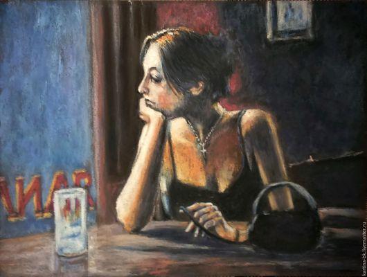 Люди, ручной работы. Ярмарка Мастеров - ручная работа. Купить Одиночество. Handmade. Одиночество, Кафе, растель, уголь