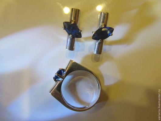 Комплекты украшений ручной работы. Ярмарка Мастеров - ручная работа. Купить Комплект в серебре с синей шпинелью. Handmade. Синий