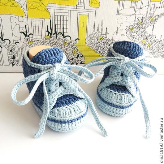 Для новорожденных, ручной работы. Ярмарка Мастеров - ручная работа. Купить пинетки кеды, кеды вязаные, синий, джинсовый. Handmade.