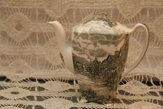 Винтажная посуда. Ярмарка Мастеров - ручная работа. Купить Чайник кофейник Johnson Bros Англия, винтаж в зеленых тонах. Handmade.