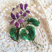 Винтаж handmade. Livemaster - original item Brooch Violet Exquisite England 50 - gg big size. Handmade.