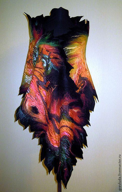 """Шали, палантины ручной работы. Ярмарка Мастеров - ручная работа. Купить Шарф - палантин """" Пламенная осень """". Handmade."""