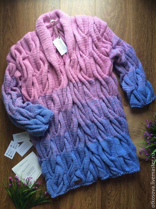 """Кофты и свитера ручной работы. Ярмарка Мастеров - ручная работа. Купить Вязаный кардиган """"Косы"""". Handmade. Разноцветный, градиент"""