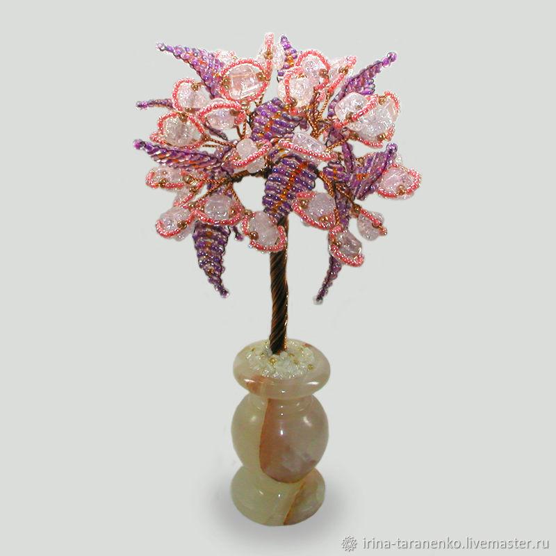 Rose quartz tree 'Illusion' in onyx vase