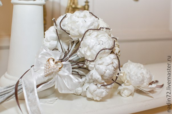 Brooch-bouquet of flowers from natural silk and boutonniere, Wedding bouquets, Ulyanovsk,  Фото №1