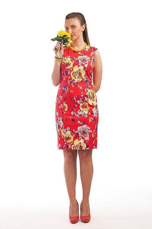 Платья ручной работы. Ярмарка Мастеров - ручная работа. Купить Платье-футляр - красное. Handmade. Летнее платье, хлопковое платье