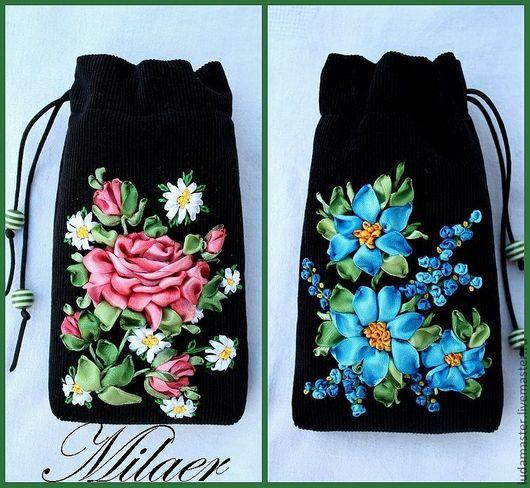 Для телефонов ручной работы. Ярмарка Мастеров - ручная работа. Купить чехольчики-мешочки для телефонов (2). Handmade. Вышивка лентами