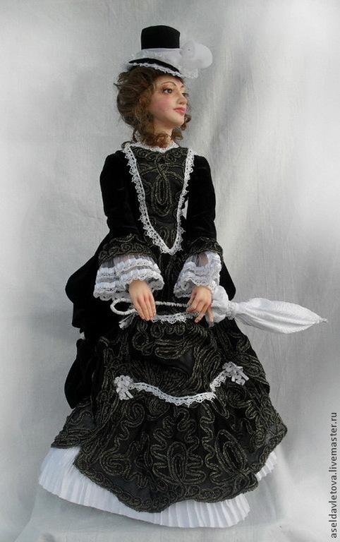 Коллекционные куклы ручной работы. Ярмарка Мастеров - ручная работа. Купить Анна. Handmade. Чёрно-белый, проволочный каркас
