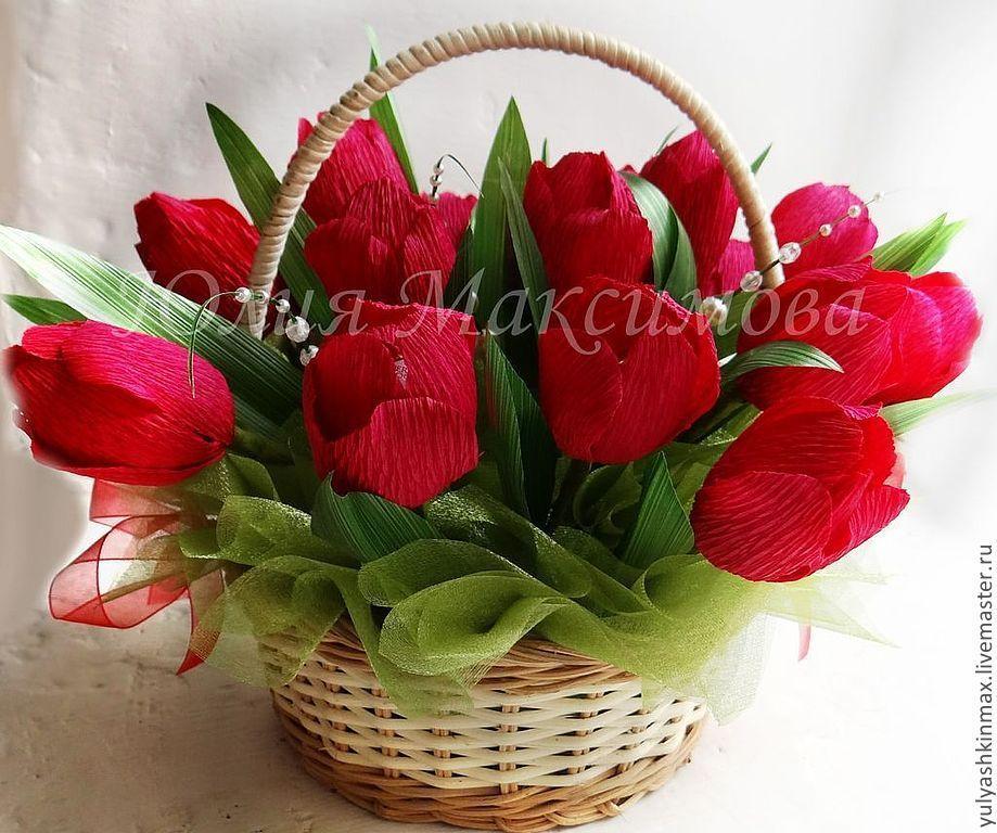 Букет из конфет тюльпаны в корзинке своими руками