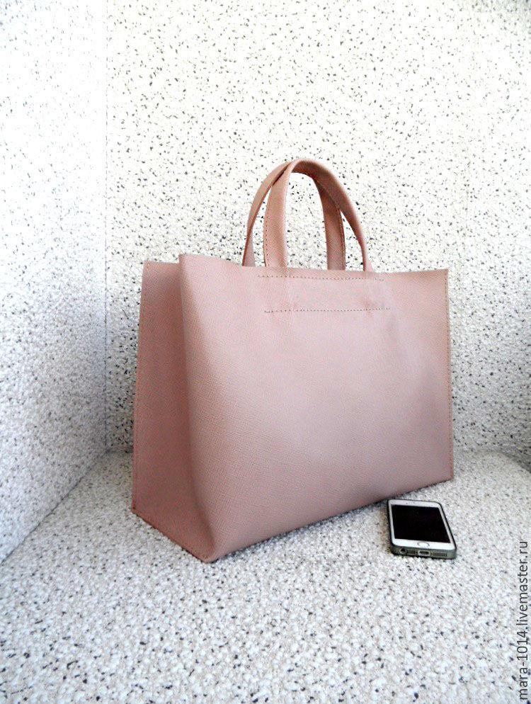 9488de4bc97d ... розовый Женские сумки ручной работы. ДЫМЧАТАЯ РОЗА сити, кожаная сумка,  шопер, розовый saffiano ...