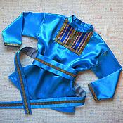 Работы для детей, ручной работы. Ярмарка Мастеров - ручная работа Рубашка русская народная фольклорная плясовая синяя голубая. Handmade.