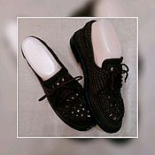 Обувь ручной работы handmade. Livemaster - original item Work custom made Shoes knitted Color chocolate Sole croche Shoes knitted. Handmade.