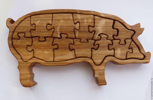 Развивающие игрушки ручной работы. Ярмарка Мастеров - ручная работа. Купить Деревянные пазлы. Handmade. Бежевый, свинья, пазлы из дерева