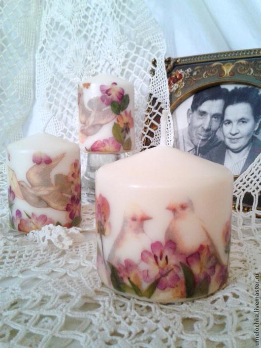 """Свечи ручной работы. Ярмарка Мастеров - ручная работа. Купить свечи """"Голубки"""", набор 3 шт.. Handmade. Белый, розы"""