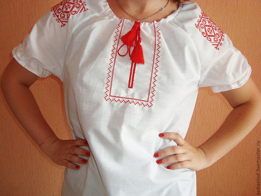 """Женская сорочка-вышиванка """"Купальский узор"""", Народные рубахи, Староминская,  Фото №1"""