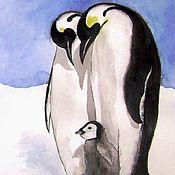 Заботливые родители. Пингвины. Акварель А3 в авторской раме.