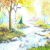 Картины и панно ручной работы. Ярмарка Мастеров - ручная работа горный ручей. Handmade.