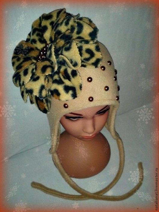Шапки ручной работы. Ярмарка Мастеров - ручная работа. Купить шапка. Handmade. Бежевый, звериная расцветка, поларфлис