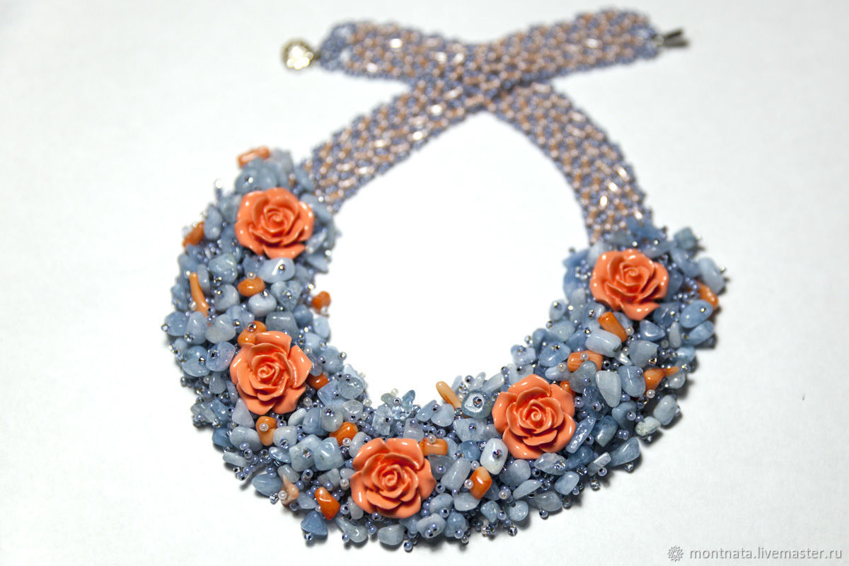 "Necklace with aquamarine and coral ""Roses in the snow"", Necklace, Moscow,  Фото №1"